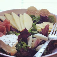 Brie. Salad. Apples. Proscuitto.